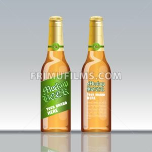 Digital vector brown beer mockup, green and golden bottle, realistic flat style, isolated and ready for your design and logo - frimufilms.com