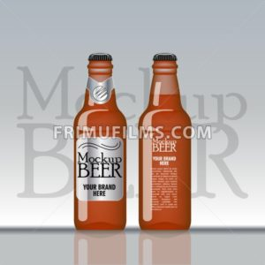 Digital vector brown beer mockup, silver and black bottle, realistic flat style, isolated and ready for your design and logo - frimufilms.com