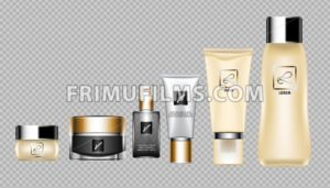 Digital vector brown skin care cream, lotion and perfume cosmetic container set mockup collection, your brand package, print ads or magazine design. Transparent and shine template, realistic 3d style - frimufilms.com
