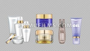 Digital vector glass face and skin care cream brown and purple container mockup set, with your brand, ready for print ads or magazine design. Transparent and shine, realistic 3d style - frimufilms.com