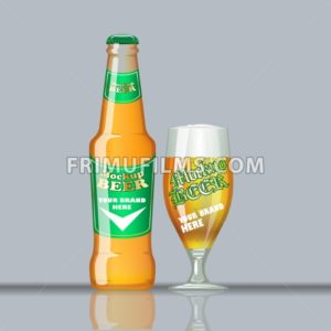 Digital vector glass of beer mockup, green and orange bottle, realistic flat style, isolated and ready for your design and logo - frimufilms.com