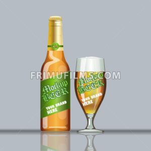 Digital vector glass of beer with foam and bubble mockup, green and brown bottle, realistic flat style, isolated and ready for your design and logo - frimufilms.com