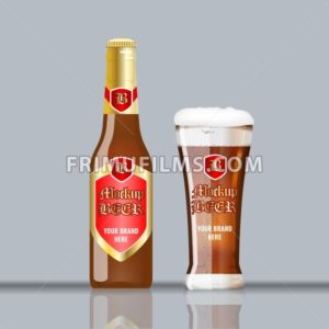 Digital vector glass of brown beer with foam and bubble mockup, red and golden bottle, realistic flat style, isolated and ready for your design and logo - frimufilms.com