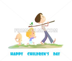 Digital vector happy children day card, baby boy and small kids walking - frimufilms.com