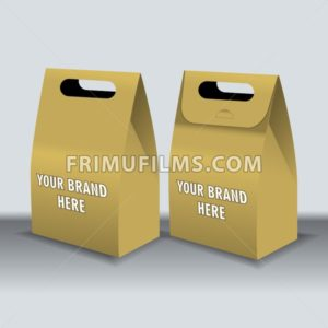 Digital vector recycle brown paper bags mockup, hand held, ready for your logo and design, flat style - frimufilms.com