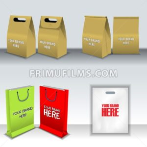 Digital vector recycle brown paper bags mockup, hand held, shoppig bag set, ready for your logo and design, flat style - frimufilms.com