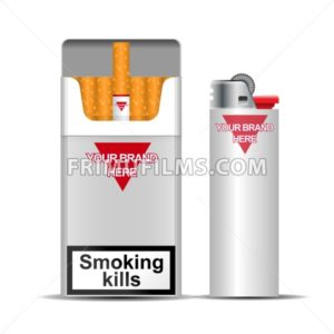 Digital vector silver cigarette pack mockup and lighter, front and lateral view, smoking kills, realistic flat style, isolated and ready for your design and logo - frimufilms.com
