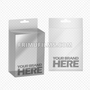 Digital vector silver transparent plastic blank box mockup, ready for your logo and design, flat style - frimufilms.com