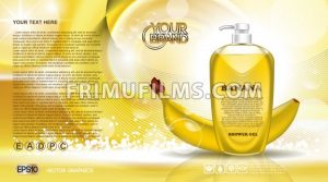 Digital vector yellow shower gel cosmetic container mockup, your brand, ready for print ads or magazine design. Banana fruit and soap bubbles. Transparent, shine, realistic 3d, reflection - frimufilms.com