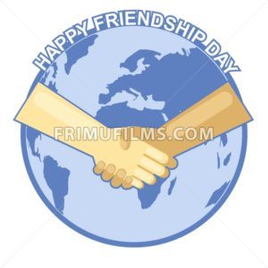 Happy friendship day card. 4 August. Best friends, two shaking hands symbol over map of world backdrop. Digital vector image - frimufilms.com