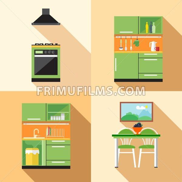 Kitchen Home Decoration Set, Flat Style. Digital Vector Image    Frimufilms.com
