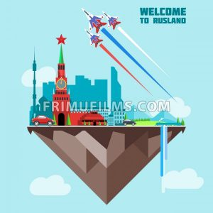 Russia country infographic map in 3d with country shape flying in the sky with clouds, flying jets drawing the white, red and blue colors. Digital vector image - frimufilms.com