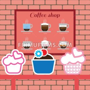 Set of cakes and coffee shop items with americano, latte, cappucino, flat white and irish, over pink background with bricks. Digital vector image - frimufilms.com