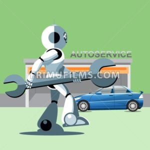 Silver humanoid robot presenting info graphics with tools and cars at auto service. Digital background vector illustration. - frimufilms.com