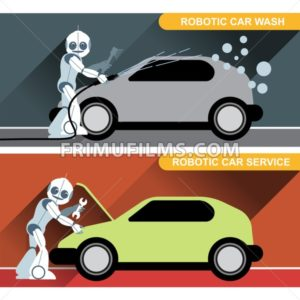 Silver humanoid robots fixing and washing cars with tools at an auto service. Digital background vector illustration. - frimufilms.com