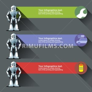 Three silver humanoid robots presenting info graphics with tools, cars and calculators. Digital background vector illustration. - frimufilms.com
