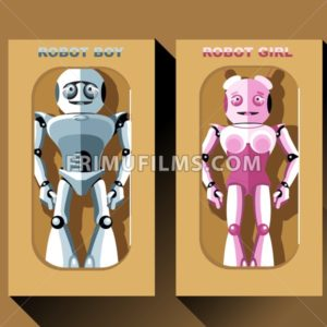 Two silver and pink humanoid robots in boxes, male and female. Digital background vector illustration - frimufilms.com