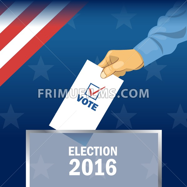 usa 2016 election card with man hand with ballot digital. Black Bedroom Furniture Sets. Home Design Ideas