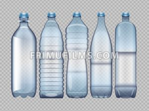 Vector set of blue transparent plastic bottle for juice and water mockup ready for your design - frimufilms.com