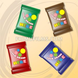 Vector set of colored polyethylene pack for candy and sweets mockup ready for your design - frimufilms.com