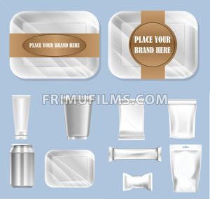 Vector set of food trail and white polyethylene foil package for sugar, bubble gum, sweets and candies mockup ready for your design - frimufilms.com