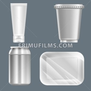 Vector set of silver plastic can with beverage can, food container and tube mockup ready for your design - frimufilms.com
