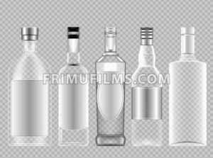 Vector set of transparent glass vodka alcohol bottle with caps for wine mockup ready for your design - frimufilms.com