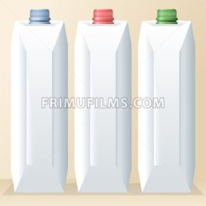 Vector set of white carton beverage pack for milk, juice and water with caps mockup ready for your design - frimufilms.com