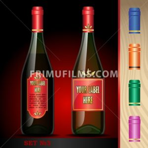 Vector wine bottles mockup with your label here text. Black bottle and red wine. Orange, green, blue and pink caps - frimufilms.com