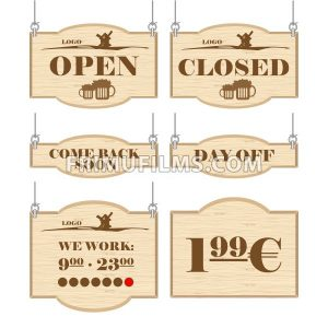 Western bar logo set collection with open, closed, day off signs in outline. Digital vector image. - frimufilms.com
