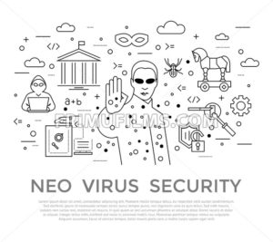 Digital vector black internet security data protection icons set drawn simple line art info graphic poster, hacker user bug vulnerability mobile email trojan malware bank cloud spy mask, flat - frimufilms.com