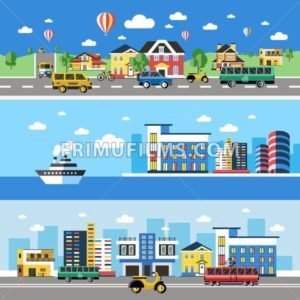 Digital vector blue city transport icons with drawn simple line art info graphic, presentation with car, boat and building elements around promo template, flat style - frimufilms.com