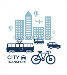 Digital vector blue city transport icons with drawn simple line art info graphic, presentation with car, tram and building elements around promo template, flat style - frimufilms.com
