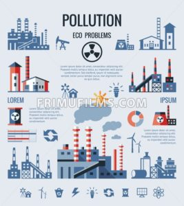 Digital vector blue factory pollution icons with drawn simple line art info graphic, presentation with nuclear plant, smoke, environment and energy elements around promo template, flat style - frimufilms.com