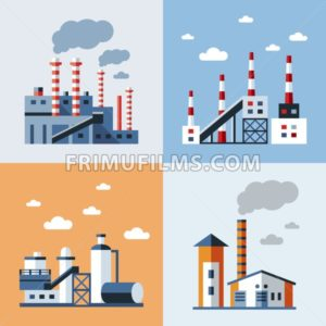 Digital vector blue factory pollution icons with drawn simple line art info graphic, presentation with plant, smoke, environment and energy elements around promo template, flat style - frimufilms.com