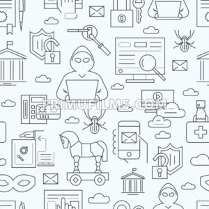 Digital vector blue internet security data protection icons set drawn simple line art info graphic seamless pattern, hacker user bug vulnerability mobile email trojan malware bank cloud spy mask, flat - frimufilms.com