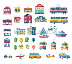Digital vector blue red city transport icons set with drawn simple line art info graphic, presentation with car, plane and building elements around promo template, flat style - frimufilms.com