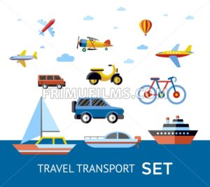 Digital vector blue red travel transport icons set with drawn simple line art info graphic, presentation with car, plane and vehicle elements around promo template, flat style - frimufilms.com
