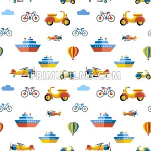 Digital vector blue red travel transport icons set with drawn simple line art info graphic, seamless pattern, presentation with boat, plane and vehicle elements around promo template, flat style - frimufilms.com