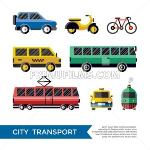 Digital vector blue red yellow city transport icons set with drawn simple line art info graphic, presentation with car, tram and taxi elements around promo template, flat style - frimufilms.com