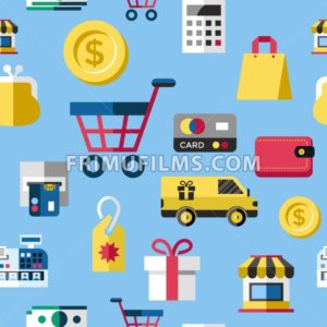 Digital vector blue yellow shopping sale icons with drawn simple line art info graphic, seamless pattern, presentation with money, commerce and economy elements around promo template, flat style - frimufilms.com
