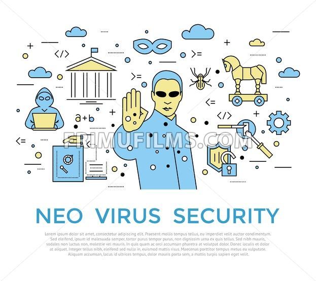 Digital vector color internet security data protection icons set drawn simple line art info graphic poster, hacker user bug vulnerability mobile email trojan malware cloud spy intercept mask, flat - frimufilms.com
