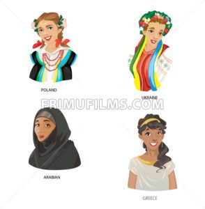 Digital vector funny cartoon arabian muslim, greece, ukraine and poland women set, abstract flat style - frimufilms.com