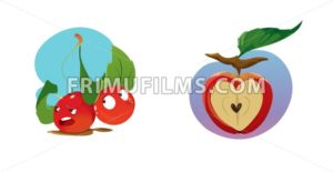 Digital vector funny cartoon growing red apple with seeds, section in shape of heart cut, green leaf, abstract flat style - frimufilms.com