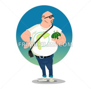 Digital vector funny comic cartoon big bald man with glasses and belly holding a small melon, white tshirt with arrow, hand drawn illustration, abstract realistic flat style - frimufilms.com