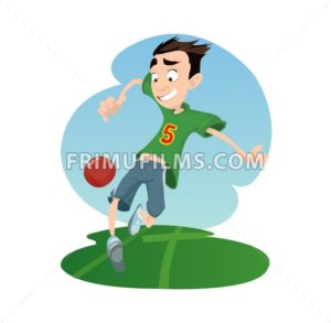 Digital vector funny comic cartoon happy kid boy enjoying playing soccer football with a red ball, dressed in green tshirt, hand drawn illustration, abstract realistic flat style - frimufilms.com