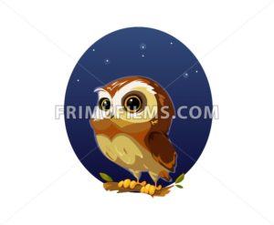 Digital vector funny comic cartoon owl bird with big eyes in the night sitting on a tree, hand drawn illustration, abstract realistic flat style - frimufilms.com