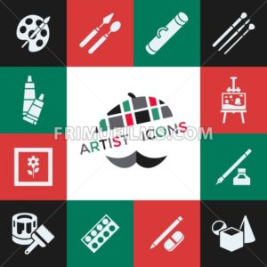 Digital vector green red artist icons set with drawn simple line art info graphic, presentation with paint, canvas, brush and art tools elements around promo template, flat style - frimufilms.com
