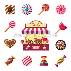 Digital vector red brown sweet candies icons with drawn simple line art info graphic, presentation with shop, sweety, chocolate and cookies elements around promo template, flat style - frimufilms.com