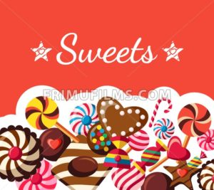 Digital vector red brown sweet candies icons with drawn simple line art info graphic, presentation with sweety, chocolate and cookies elements around promo template, flat style - frimufilms.com